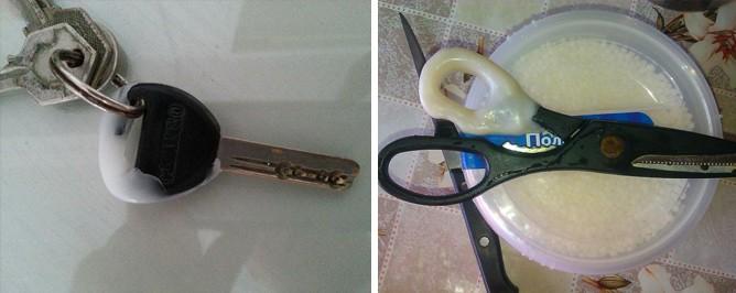 С помощью этого пластика можно отремонтировать например ручку ножниц или ключ