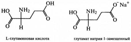 Формула глутаминовой кислоты и замещенного глутамата натрия